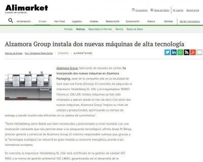 Alzamora Group installs two new high-tech machines