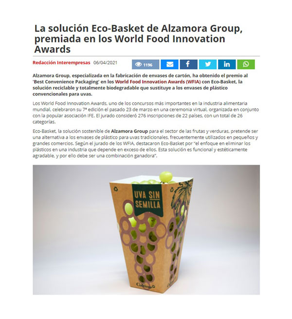 Eco-Basket solution, awarded at the WFIA